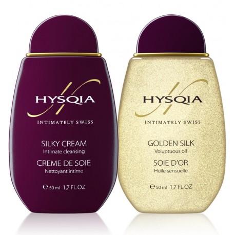 "Набор HYSQIA масло для тела ""Золотой шёлк"" и HYSQIA очищающий крем ""Шёлк"""